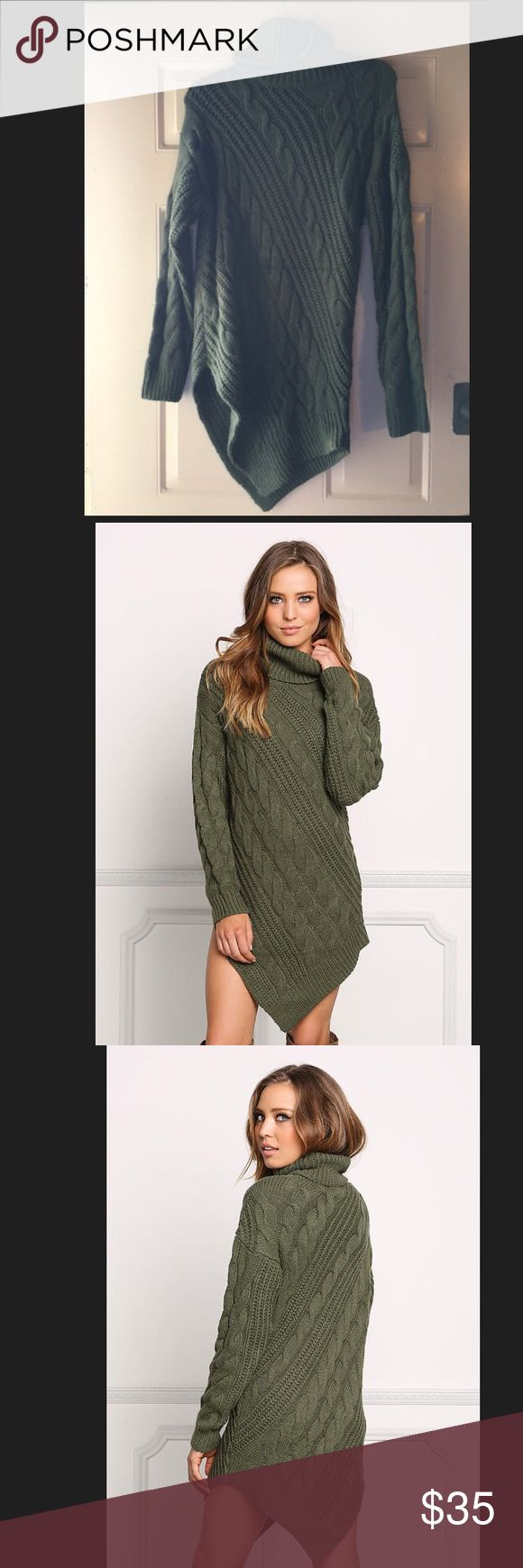 Olive Green Sweater Dress Olive Green Sweater Dress Love Culture Size: S / M Never worn Love Culture Dresses Mini