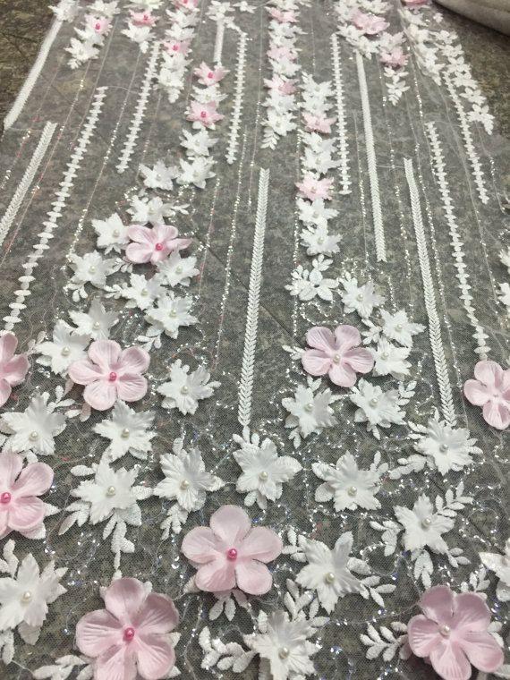 Mode 3D kralen stof 3D bloem lacr stof geborduurde kant