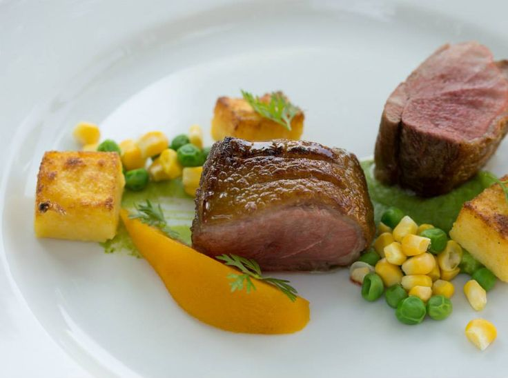 Roasted duck breast with peas, polenta & saffron pear http://www.tenbompas.com/