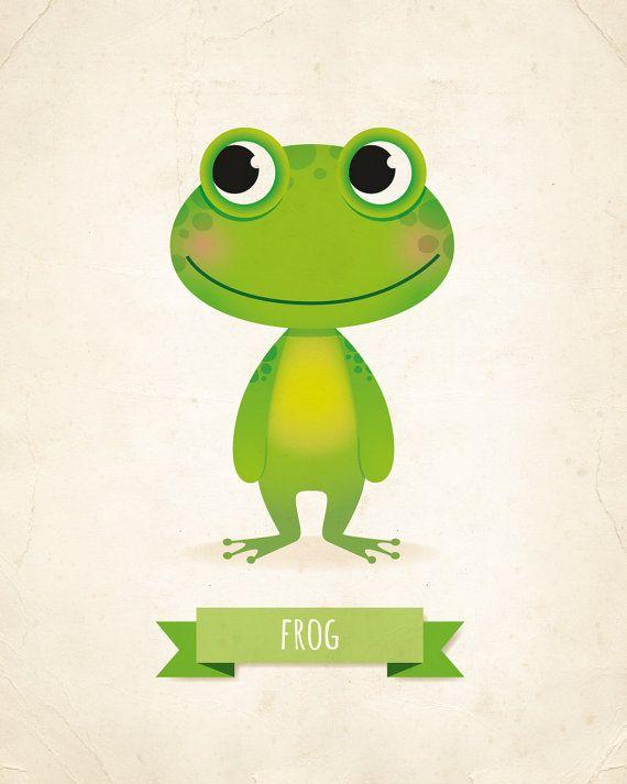 Kids wall art, frog print, frog nursery, illustration, kids illustration, animal…