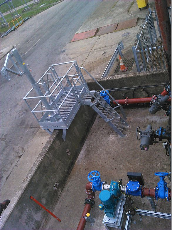 The QMEXX modular pipe support system in use at Minworth sewage treatment works.