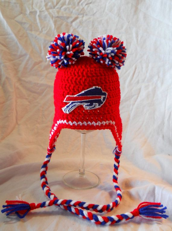 Buffalo Bills Football Inspired Baby Crochet Double Pom Poms Ear Flap Hat w/Embroidered Logo - 0-3 Months, 3-6 Months, 6-12 Months Sizes