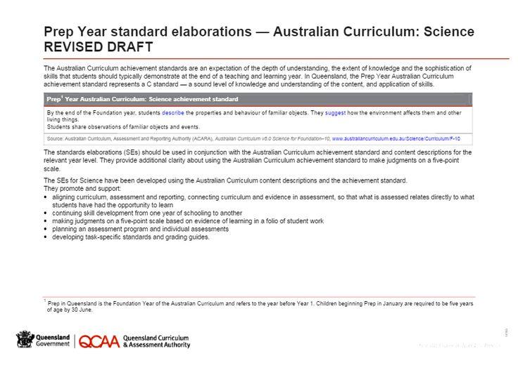 Prep Year Science standard elaborations