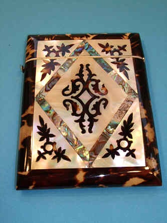 Tortoiseshell, Mother of Pearl and Abalone card case, circa 1850