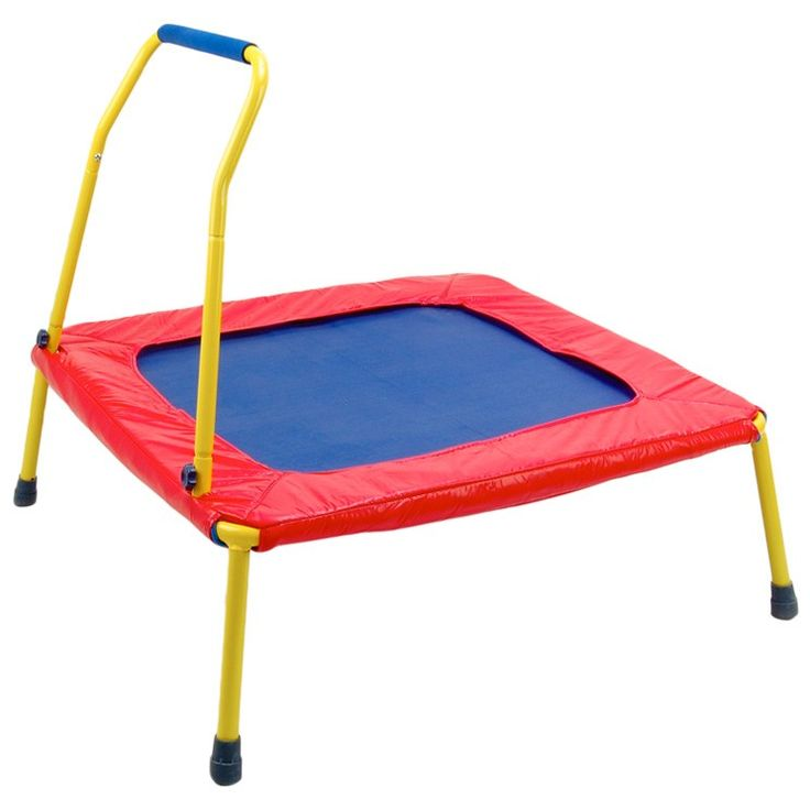 """Busy Bouncer Trampoline - Square -- how's this for an energy burner?!  Stable, sturdy, and lots of fun for a """"Bouncing Baby Boy!""""  Get it now at Jolly Jackrabbit."""