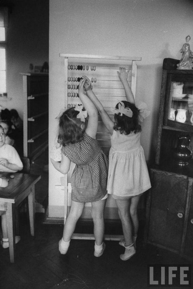 photographs picturing Soviet children in the kindergarten