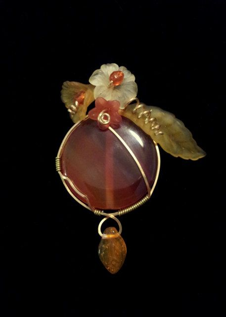 Carnelian Handmade Wire Wrapped and Beaded in Copper Pendant