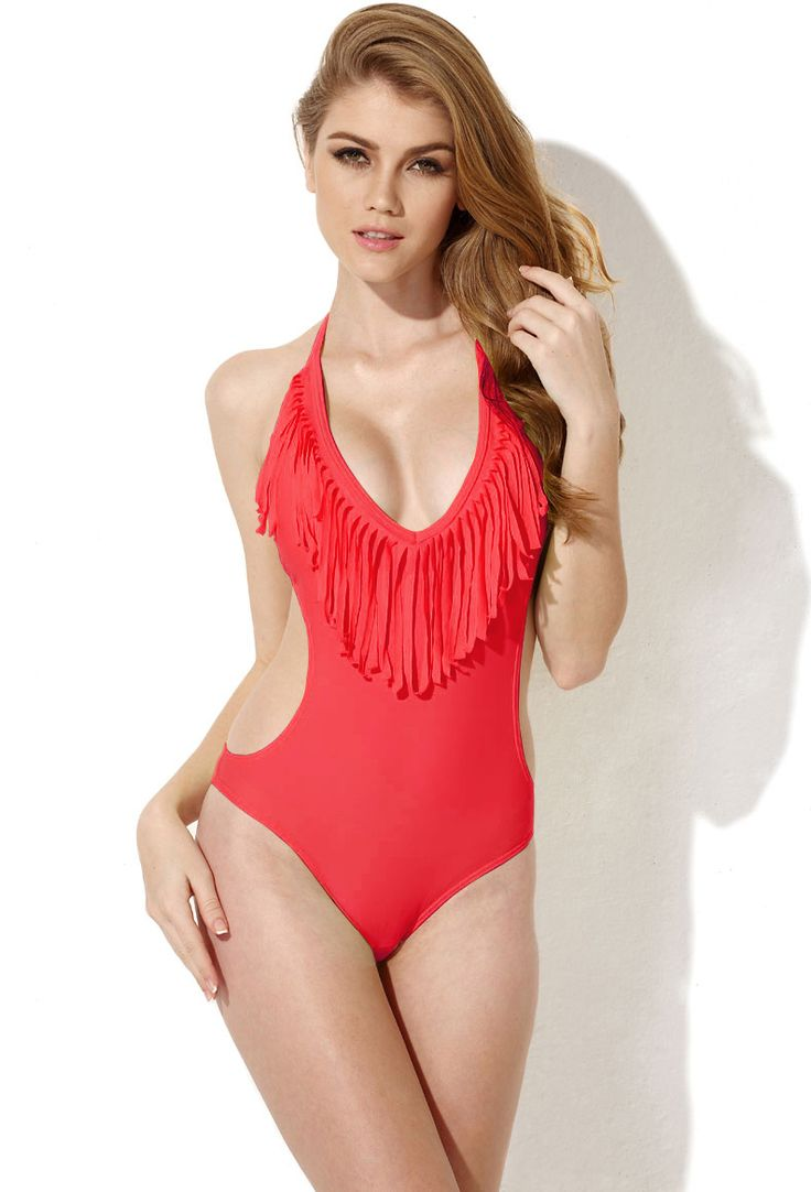 Red One Piece Swimwear with Fringe and Side Cut Outs 17.50
