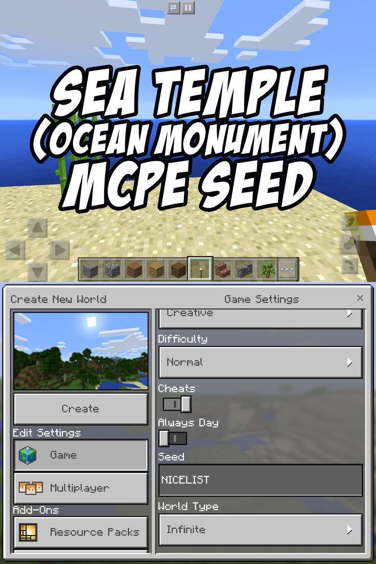 Ocean Monument/Sea Temple Seed for Minecraft Pocket Edition: NICELIST