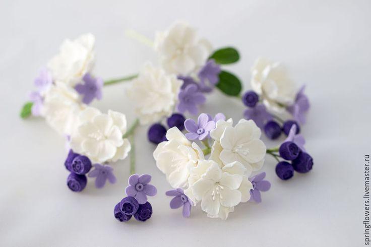 Купить ЛЕТО В ВОЛОСАХ - черника, цветы, цветы ручной работы, цветы из полимерной глины