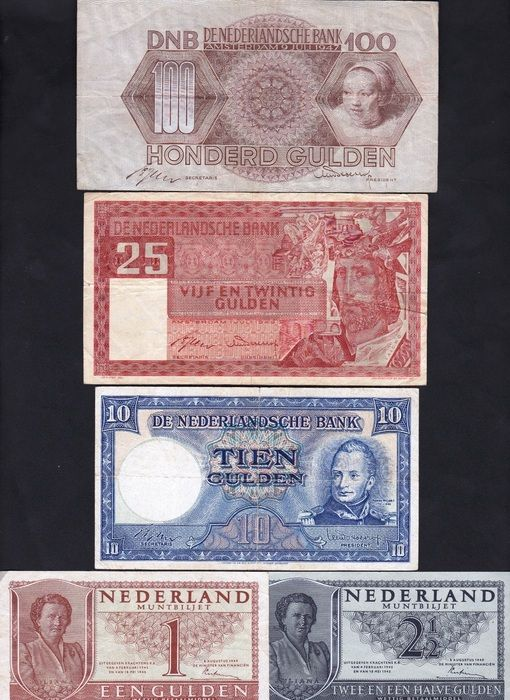 Currently at the Catawiki auctions: The Netherlands - Banknotes 1, 2½, 10 and 25 Guilders 1949 + 100 Guilders 1947