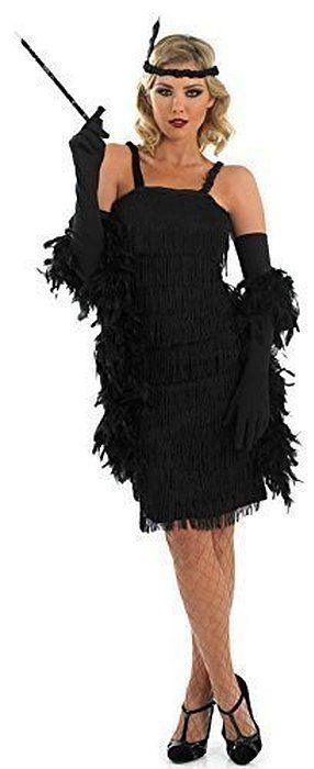 Fancy Me - Damen Kostüm Schwarz 1920er 30er Flapper Charleston Großer Gatsby Fransen Quasten Modische Verkleidung Outfit Übergröße - EU 36-38, Schwarz