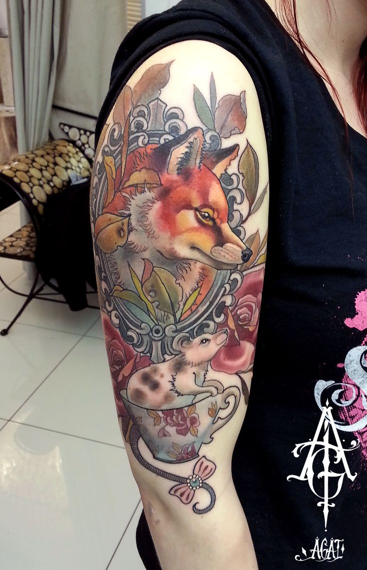 Really love to do neotrad done in one long, 6h session, hope you like it) tattoo, art, tattoo art, sleeve tattoos, mouse, fox, fox tattoo, mouse tattoo, tea cup, tea cup tattoo, old frame, frame