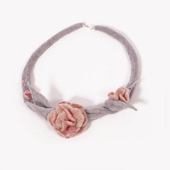 Felted Flower Necklace Collar Pastel Gray Powder Pink by EsartFelt, $35.00