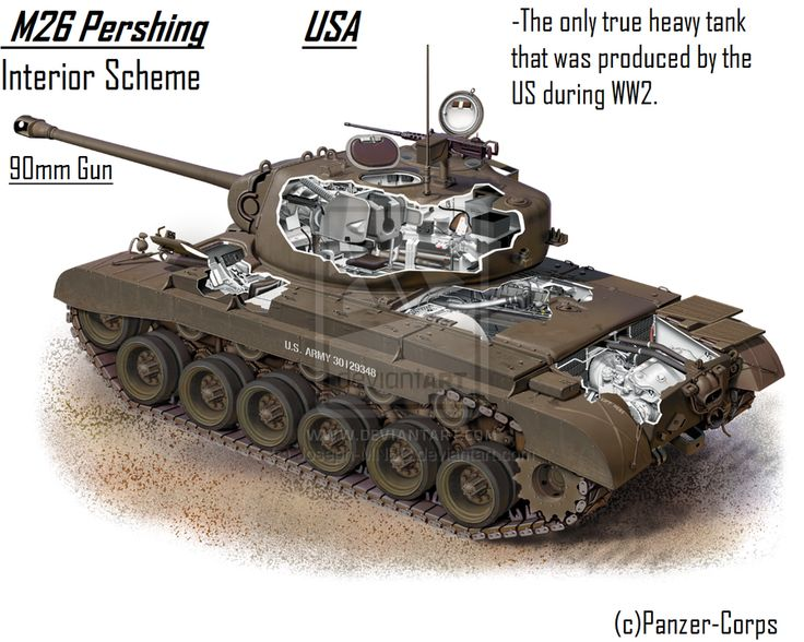 M26 Pershing by Joseph-MNBC. The M26, the only heavy tank manufactured by the U.S. in WWII,    served as a primary tank-killer in  the European Theater of Operations