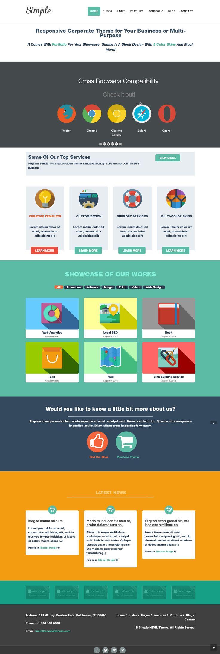 Simple | #responsive multi-purpose #corporate #theme, #flat #design, #LongShadow #icons | From #Themeforest  http://www.techirsh.com