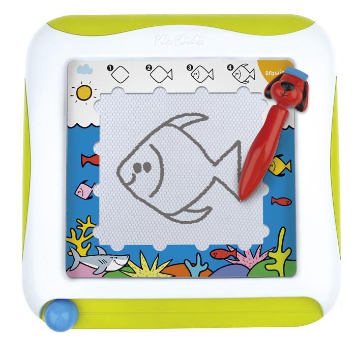 Tablica edukacyjna - znikopis. W zestawie karty z ćwiczeniami. Twoje dziecko może nauczyć się rysowania różnych kształtów, zwierząt i przedmiotów.