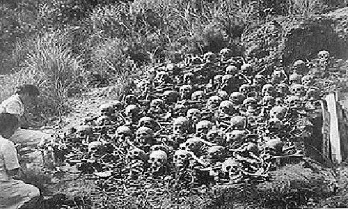 Nagasaki and Hiroshima victims; mass skulls