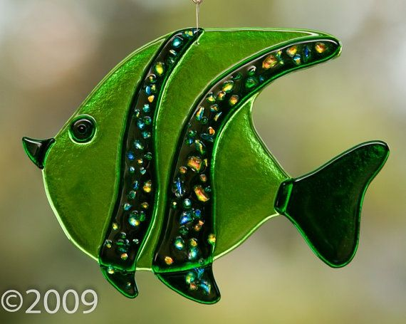 Fused Glass Fish | Stained Glass Fused Angel Fish $28