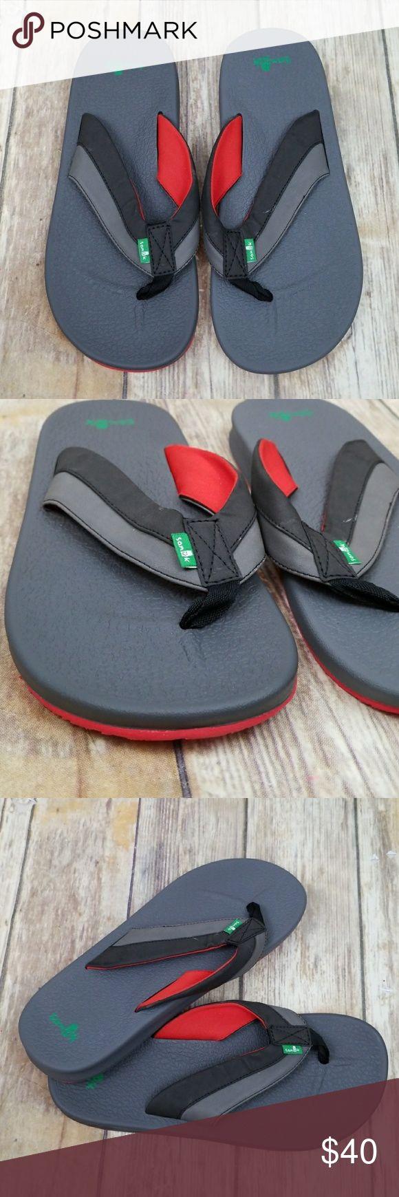Sanuk flip flops Brand new flip flops Style name  brumeister  Color  black charcoal red Men's size 9 Sanuk Shoes Sandals & Flip-Flops