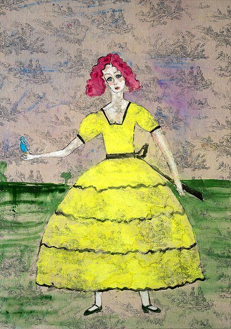 Scarlett O'Hara with a budgerigar_Jenny Watson