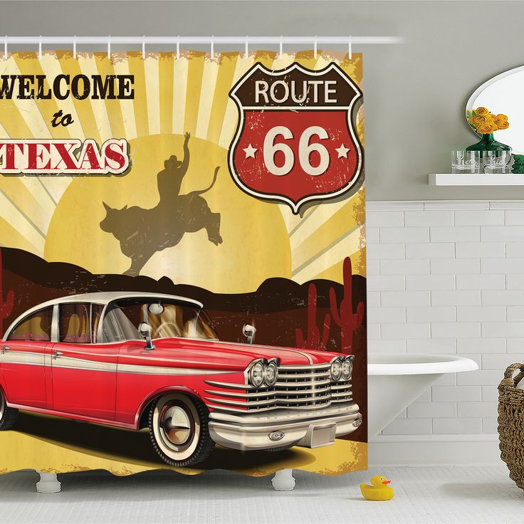 Welcome to Texas Signboard Poster with Cadillac Art Car Cowboys Town Rodeo Decor Shower Curtain Set