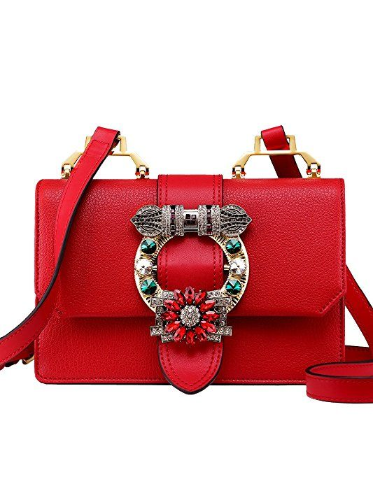 db224c5d2a3d LA FESTIN Ladies Cute Bags Dazzling Jewels Shoulder Chain Purse Leather  White  Handbags