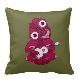Pink Aotearoa Hei Tiki with green ukulele throw pillow  New Zealand design. Hei Tiki playing a ukulele. Hei Tiki is a cultural icon here in New Zealand / Aotearoa. It is a traditional Maori design, I added the uke for a bit of fun. Double sided pillow, thanks for viewing my work. Also listed for sale in my zazzle shop in shades of green and shades of grey.    Created By mailboxdisco