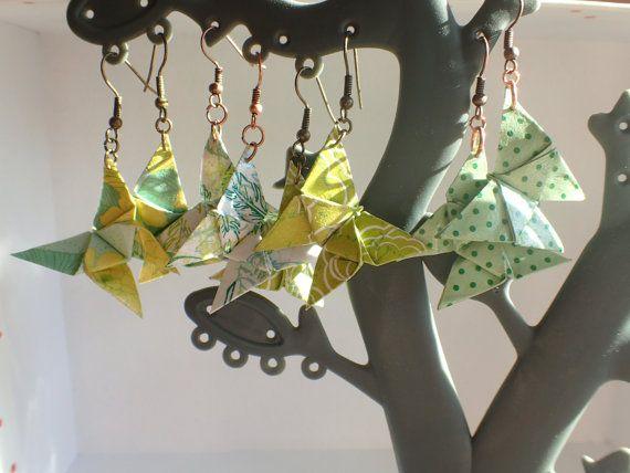 Boucles d'oreilles origami papillon boucles papier par OPALEEN