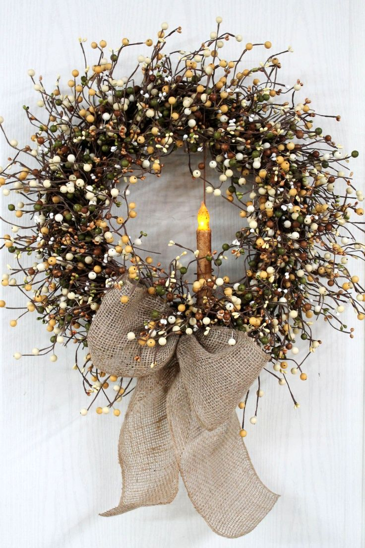 Primitive Wreath, Country Door Wreath, Earth Tones, Country Berries, Primitive Candle, Burlap Bow, Primitive Country Decor via Etsy.