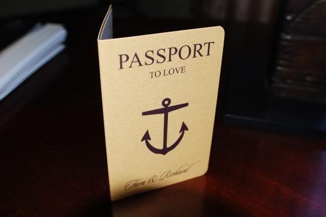 anaderoux: Tara & Richard's Cruise wedding boarding pass and mini passport invitations