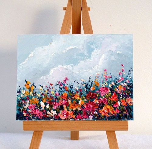 Paisaje de campo de flor 3 x 4 pulgadas de pintura al óleo