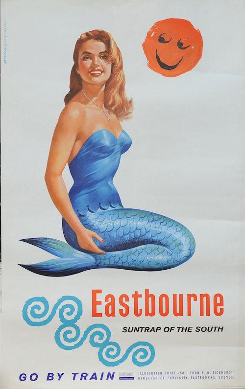 Kenneth Bromfield Eastbourne railway poster mermaid