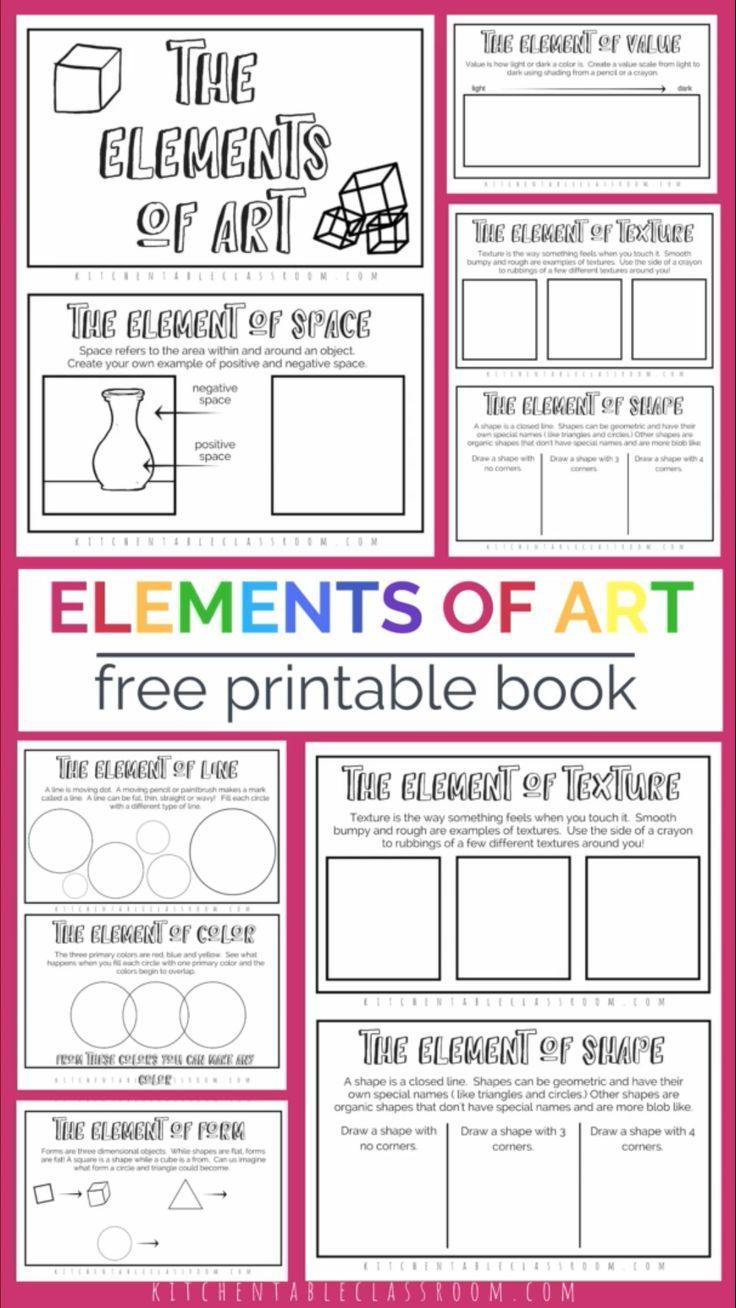 The Formal Elements Of Art For Kids With Free Printable Book The Kitchen Table Classroom Art Education Projects Art Lessons For Kids Art Lessons Elementary