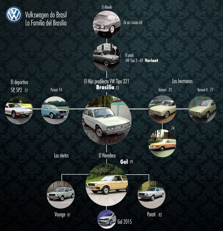 Arbol Genealogico del Volkswagen Brasilia, tipo 312, family tree, volkswagen do brasil, inclye al gol, variant, parati, passat, sp2 etc etc.