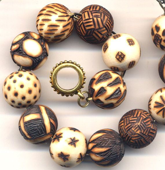 OOAK Wood Burned and Antique Gold Necklace Unique by Annaart72
