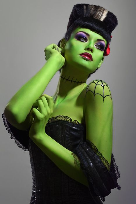 Talk about some amazing body paint!: Halloween Costumes, Halloween Makeup, Body Painting, Pinup, Pin Up, Bride Of Frankenstein, Halloween Ideas, Costumes Ideas, Halloweenmakeup