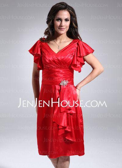 118 99 sheath v neck knee length charmeuse mother of the bride dress