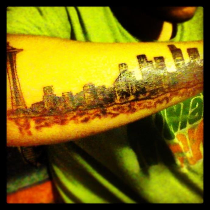 Seattle skyline tattoo tattoo art pinterest seattle for Las vegas skyline tattoo