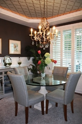 Dining Room featuring trellis wallpapered ceiling :: Janis Reed, Interior Design Source. shutters, plantation shutters, tray ceiling
