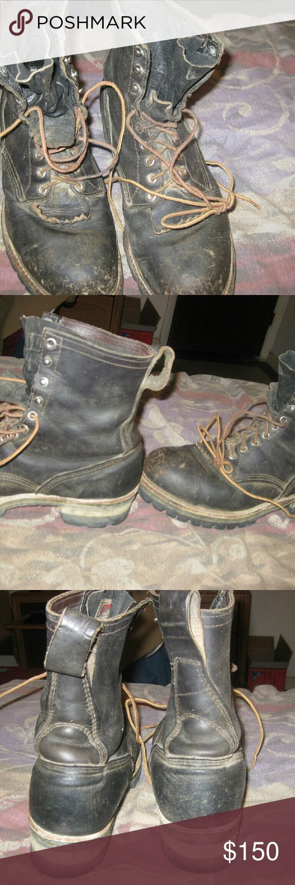 vintage steel toed red wing logger boots 10D good shape  vintage red wing steel toed logger boots  10 D size  shows wear in pics ? a little leather treatment and a little cleaning up will make them look good  ?Check pictures to ensure this is what your looking for.?  I work hard to accurately represent the product.?  If you have any questions feel free to ask. All feedback is encouraged and appreciated. Red Wing Shoes Shoes Boots