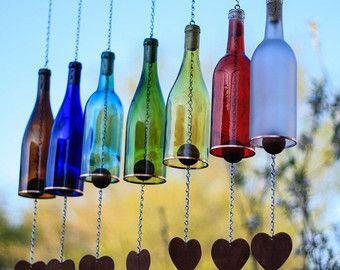Recycled wine bottle wind chime Cobalt blue glass by LindasYardArt