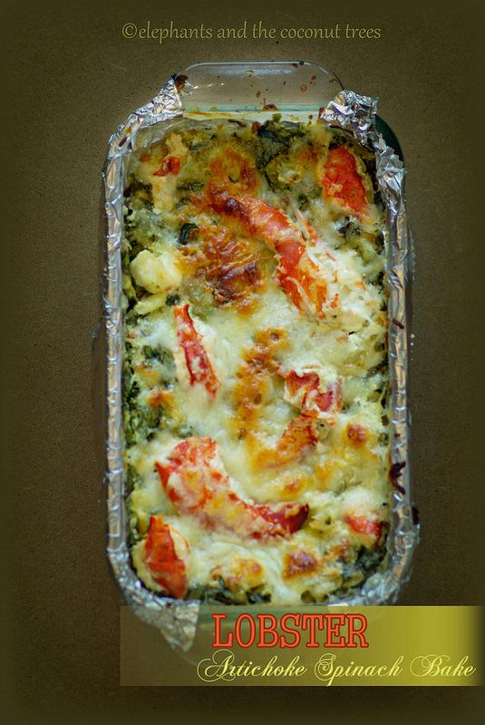 Lobster, Artichoke and Spinach Bake.The dish that will get over first on the  table.  #FallFest #FNDish #Holidayrecipes.