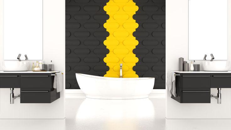 Pokój kąpielowy, łazienka z wykorzystaniem paneli ściennych 3D Fluffo, kolekcja BUTTON. Fluffo, Fabryka Miękkich Ścian.