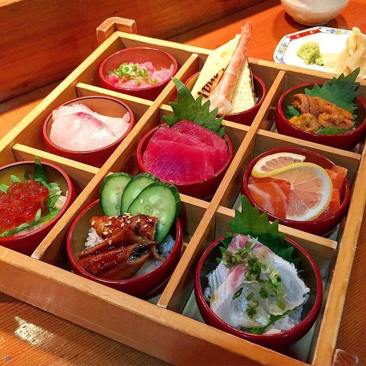 Box of dreams from Hatsuhana   #sushi is what #dreams are made of! My dreams at least...   #chirashi #ikura #unagi #salmon #toro #uni #ebi #tamago #hatsuhana by foodietales