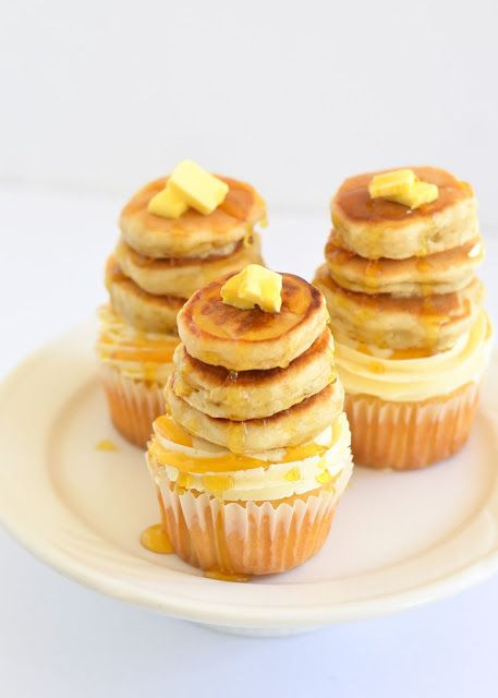 Maple pecan cupcakes with tiny buttermilk pancakes