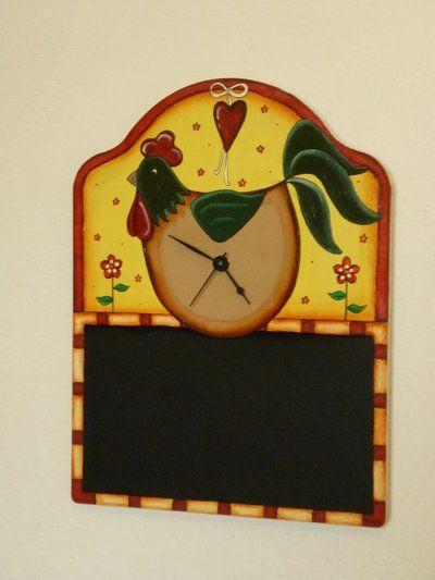 Originale orologio da parete con lavagnetta in perfetto stile country! Idea regalo... per chi ama le cose fatte a mano!