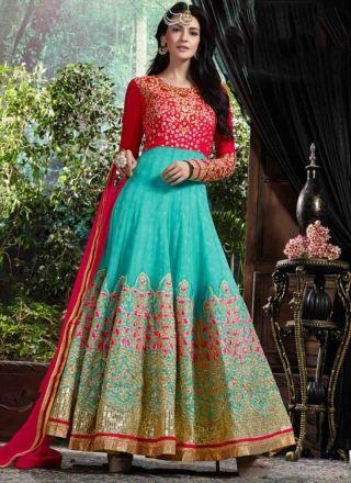Sky Blue Pink Embroidery Work Georgette Santoon Long Designer Anarkali Gown Suit http://www.angelnx.com/Salwar-Kameez/Anarkali-Suits