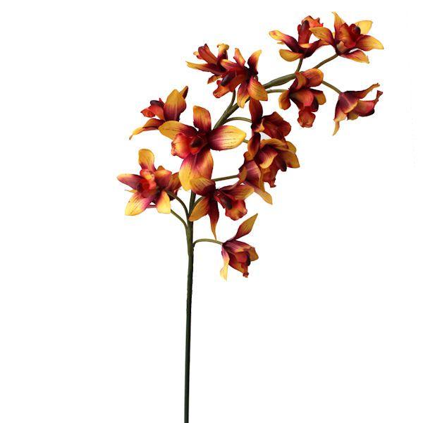 Fleur artificielle Orchidée cymbidium corail couleur rose &
