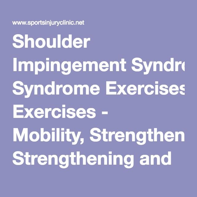 Shoulder Impingement Syndrome Exercises - Mobility, Strengthening and Sports Specific   Sportsinjuryclinic.net